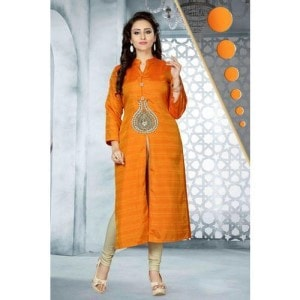 Orange Fancy Silk Kurti